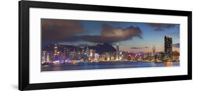 View of Hong Kong Island and Tsim Sha Tsui Skylines at Sunset, Hong Kong-Ian Trower-Framed Photographic Print