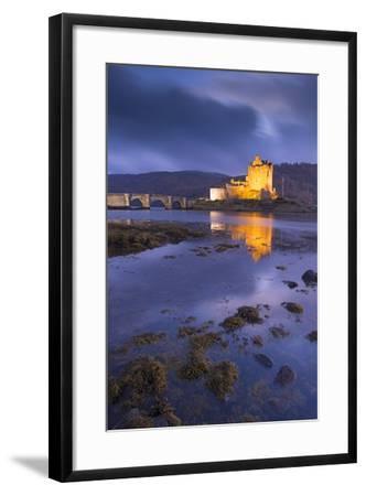 Eilean Donan Castle on Loch Duich at Twilight, Western Highlands, Scotland. Autumn (November)-Adam Burton-Framed Photographic Print