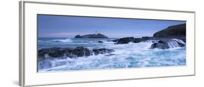 Waves Crash around the Rocks Near Godrevy Lighthouse, Cornwall, England. Winter (February)-Adam Burton-Framed Photographic Print