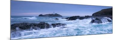 Waves Crash around the Rocks Near Godrevy Lighthouse, Cornwall, England. Winter (February)-Adam Burton-Mounted Photographic Print