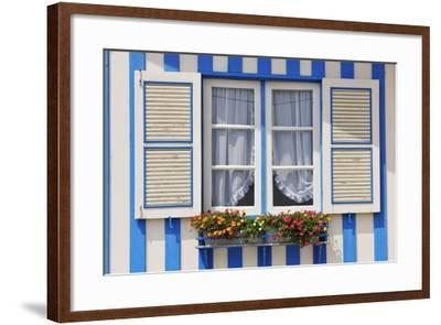 Window of a Traditional Striped Painted House in the Little Seaside Village of Costa Nova, Portugal-Mauricio Abreu-Framed Photographic Print