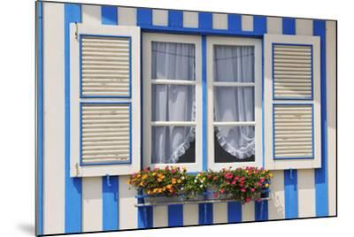 Window of a Traditional Striped Painted House in the Little Seaside Village of Costa Nova, Portugal-Mauricio Abreu-Mounted Photographic Print