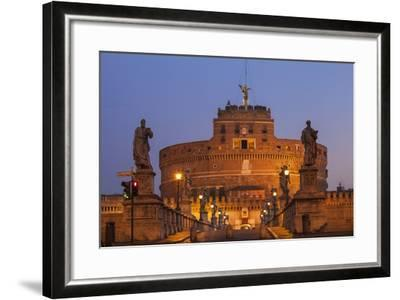 Italy, Lazio, Rome, View of St. Angelo Bridge and Castle St. Angelo (Hadrian's Mausoleum)-Jane Sweeney-Framed Photographic Print