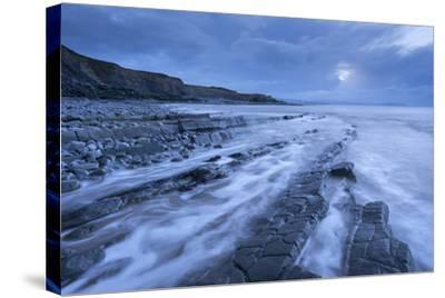 Stormy Evening at Kilve Beach on the Somerset Coast, Somerset, England. Winter (January)-Adam Burton-Stretched Canvas Print