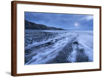 Stormy Evening at Kilve Beach on the Somerset Coast, Somerset, England. Winter (January)-Adam Burton-Framed Photographic Print