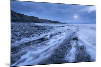 Stormy Evening at Kilve Beach on the Somerset Coast, Somerset, England. Winter (January)-Adam Burton-Mounted Photographic Print