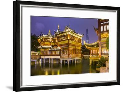 Tea House at the Yuyuan Gardens and Bazaar with the Shanghai Tower Behind, Old Town, Shanghai-Jon Arnold-Framed Photographic Print