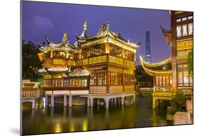 Tea House at the Yuyuan Gardens and Bazaar with the Shanghai Tower Behind, Old Town, Shanghai-Jon Arnold-Mounted Photographic Print