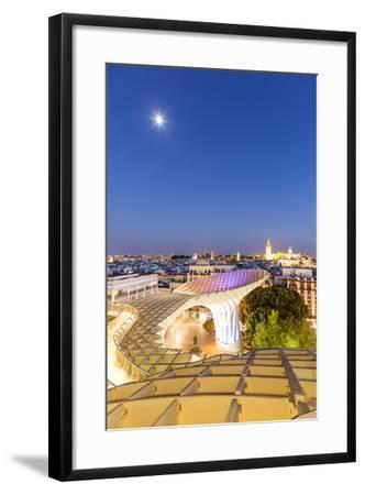 Spain, Andalusia, Seville. Metropol Parasol Structure and City at Dusk-Matteo Colombo-Framed Photographic Print