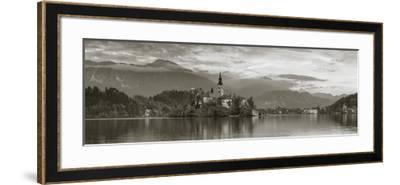 Bled Island with the Church of the Assumption and Bled Castle Illuminated at Dusk, Lake Bled-Doug Pearson-Framed Photographic Print