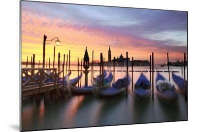 Italy, Venice. Gondolas Moored on Riva Degli Schiavoni at Sunrise-Matteo Colombo-Mounted Photographic Print