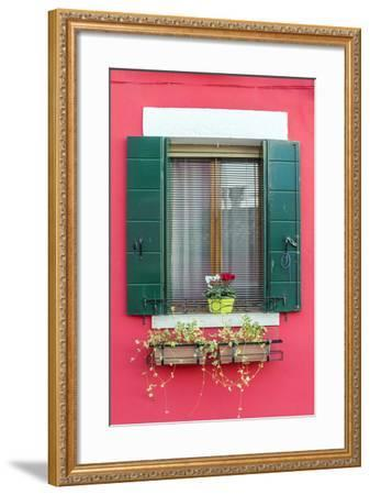 Italy, Veneto, Venice, Burano. Typical Window on a Colorful House-Matteo Colombo-Framed Photographic Print