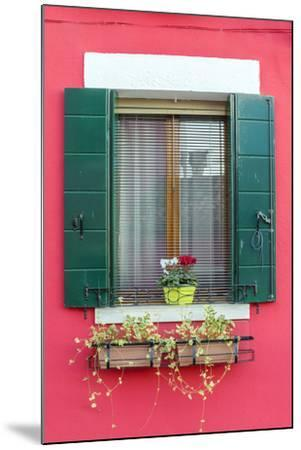 Italy, Veneto, Venice, Burano. Typical Window on a Colorful House-Matteo Colombo-Mounted Photographic Print