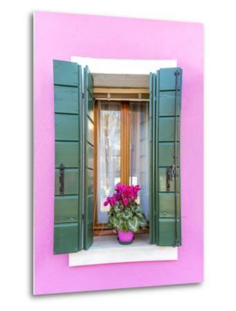 Italy, Veneto, Venice, Burano. Typical Window on a Colorful House-Matteo Colombo-Metal Print