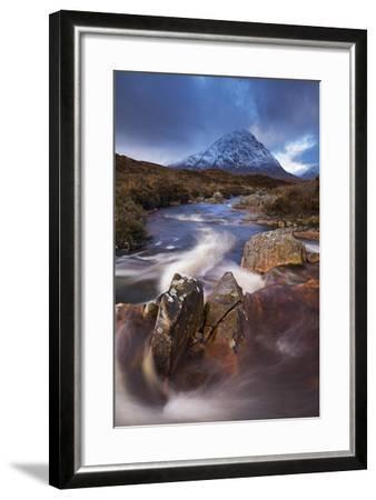 Highland Stream Running Through Rannoch Moor Towards Buachaille Etive Mor Mountain, Scotland-Adam Burton-Framed Photographic Print