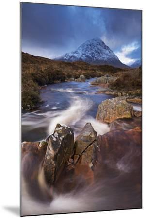 Highland Stream Running Through Rannoch Moor Towards Buachaille Etive Mor Mountain, Scotland-Adam Burton-Mounted Photographic Print