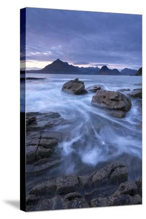 The Black Cuillin Mountains from the Rocky Shores of Elgol, Isle of Skye, Scotland-Adam Burton-Stretched Canvas Print