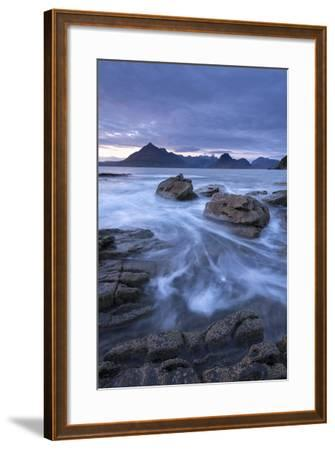The Black Cuillin Mountains from the Rocky Shores of Elgol, Isle of Skye, Scotland-Adam Burton-Framed Photographic Print