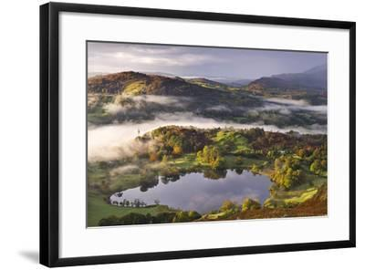 Loughrigg Tarn Surrounded by Misty Autumnal Countryside, Lake District, Cumbria-Adam Burton-Framed Photographic Print