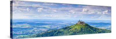 Elevated View Towards Hohenzollern Castle and Sourrounding Countryside, Swabia, Baden Wuerttemberg-Doug Pearson-Stretched Canvas Print