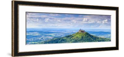Elevated View Towards Hohenzollern Castle and Sourrounding Countryside, Swabia, Baden Wuerttemberg-Doug Pearson-Framed Photographic Print