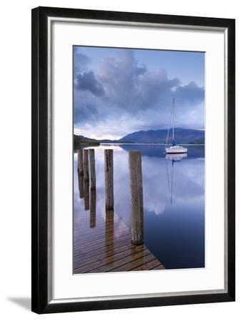 Yacht Moored Near Lodore Boat Launch on Derwent Water, Lake District, Cumbria-Adam Burton-Framed Photographic Print