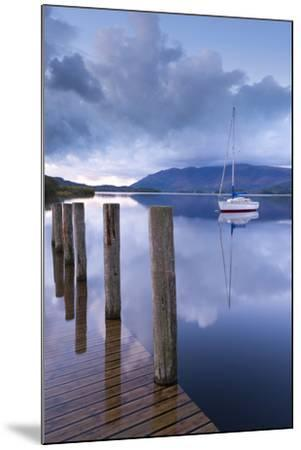 Yacht Moored Near Lodore Boat Launch on Derwent Water, Lake District, Cumbria-Adam Burton-Mounted Photographic Print
