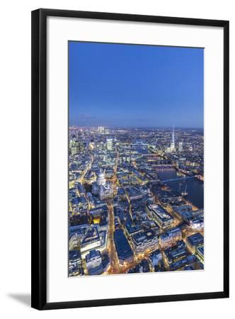 Night Aerial View of St. Paul'S, the Shard, River Thames and City of London, London, England-Jon Arnold-Framed Photographic Print