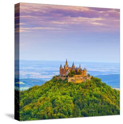 Hohenzollern Castle and Surrounding Countryside at Sunrise, Swabia, Baden Wuerttemberg-Doug Pearson-Stretched Canvas Print
