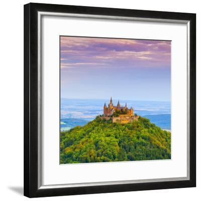 Hohenzollern Castle and Surrounding Countryside at Sunrise, Swabia, Baden Wuerttemberg-Doug Pearson-Framed Photographic Print