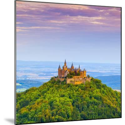 Hohenzollern Castle and Surrounding Countryside at Sunrise, Swabia, Baden Wuerttemberg-Doug Pearson-Mounted Photographic Print