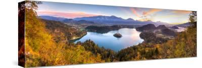 Lake Bled and the Julian Alps Illuminated at Sunrise, Lake Bled, Bled, Upper Carniola, Slovenia-Doug Pearson-Stretched Canvas Print