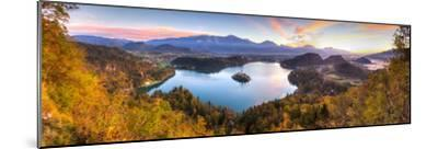 Lake Bled and the Julian Alps Illuminated at Sunrise, Lake Bled, Bled, Upper Carniola, Slovenia-Doug Pearson-Mounted Photographic Print