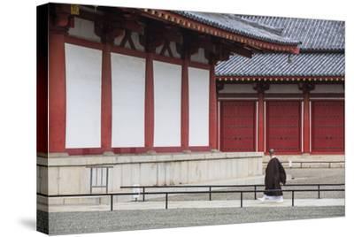 Monk at Shitenno-Ji Temple, Tennoji, Osaka, Kansai, Japan-Ian Trower-Stretched Canvas Print