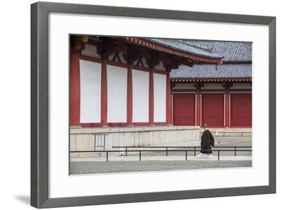 Monk at Shitenno-Ji Temple, Tennoji, Osaka, Kansai, Japan-Ian Trower-Framed Photographic Print