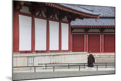 Monk at Shitenno-Ji Temple, Tennoji, Osaka, Kansai, Japan-Ian Trower-Mounted Photographic Print