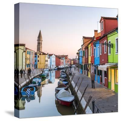 Italy, Veneto, Venice, Burano. Sunset in the Town-Matteo Colombo-Stretched Canvas Print