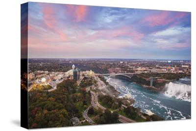 View over Victoria Park Towards Rainbow Bridge and the American Falls, Niagara Falls-Jane Sweeney-Stretched Canvas Print
