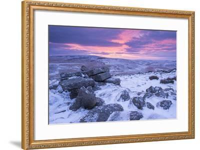 Beautiful Sunrise over a Frozen and Snow Covered Belstone Tor, Dartmoor National Park, Devon-Adam Burton-Framed Photographic Print