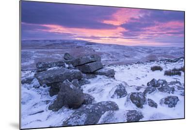 Beautiful Sunrise over a Frozen and Snow Covered Belstone Tor, Dartmoor National Park, Devon-Adam Burton-Mounted Photographic Print