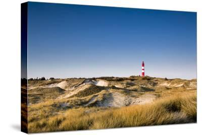 Lighthouse in the Dunes, Amrum Island, Northern Frisia, Schleswig-Holstein, Germany-Sabine Lubenow-Stretched Canvas Print