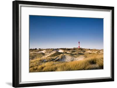 Lighthouse in the Dunes, Amrum Island, Northern Frisia, Schleswig-Holstein, Germany-Sabine Lubenow-Framed Photographic Print