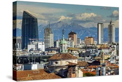 City Skyline with the Alps in the Background, Milan, Lombardy, Italy-Stefano Politi Markovina-Stretched Canvas Print