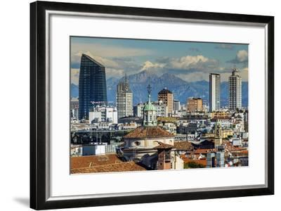 City Skyline with the Alps in the Background, Milan, Lombardy, Italy-Stefano Politi Markovina-Framed Photographic Print