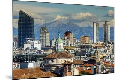 City Skyline with the Alps in the Background, Milan, Lombardy, Italy-Stefano Politi Markovina-Mounted Photographic Print