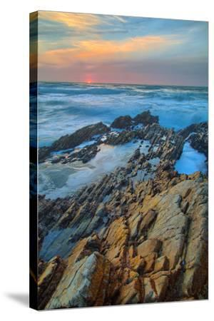 Sunset Seascape at Montaña de Oro--Stretched Canvas Print