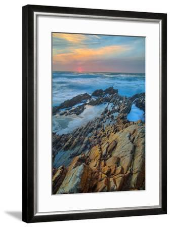 Sunset Seascape at Montaña de Oro--Framed Photographic Print
