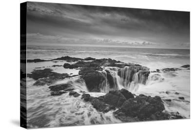 Scene at Thor's Well in Black and White, Oregon Coast--Stretched Canvas Print