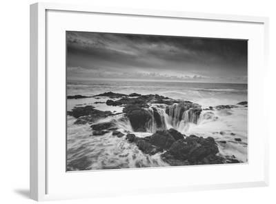 Scene at Thor's Well in Black and White, Oregon Coast--Framed Photographic Print