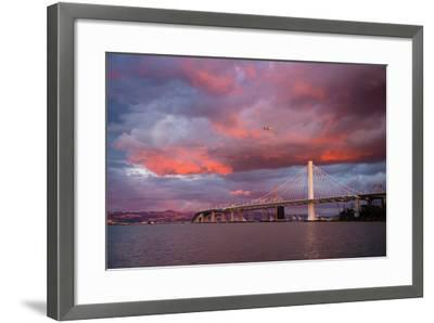 Fiery Clouds and Jet Plane at Bay Bridge, Oakland--Framed Photographic Print